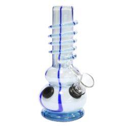 Bong sklo 17cm, bílomodrý-Bong skleněný, neprůhledný. Bong je zdobený spirálou na povrchu. Výška: 17 cm Průměr: 3,3 cm Materiál: sklo