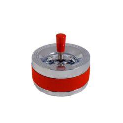 Cigaretový popelník otočný červený, kovový-Cigaretový popelník otočný. Samozhášecí popelník na cigarety je kovový, průměr 12cm.