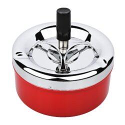 Cigaretový popelník otočný Angelo červený, kovový-Velký cigaretový popelník otočný Angelo. Samozhášecí kovový popelník na cigarety má průměr 11 cm a celkovou výšku 10 cm.