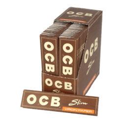 Cigaretové papírky OCB Virgin Slim-Cigaretové papírky OCB Slim VIRGIN. Papírky jsou vyrobené z ultratenkého neběleného papíru. Knížečka obsahuje 32 papírků. Rozměry papírku: 45x109mm. Prodej pouze po celém balení (displej) 50ks.