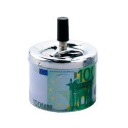 Cigaretový popelník otočný Euro, kovový-Cigaretový popelník otočný Euro. Samozhášecí popelník na cigarety je kovový, průměr 9cm.