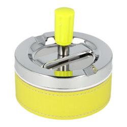 Cigaretový popelník otočný Neon žlutý, kovový-Cigaretový popelník otočný Neon. Samozhášecí popelník na cigarety je kovový, průměr 9,5cm.