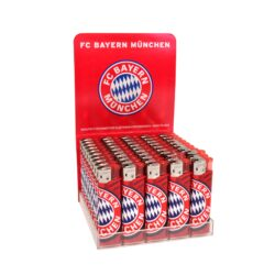 Zapalovač FC Bayern München-Plynový zapalovač. Zapalovač je plnitelný. Prodej pouze po celém balení (displej) 50 ks.