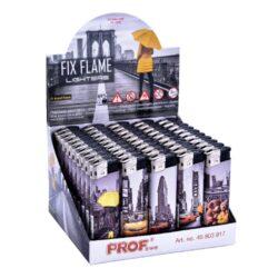 Zapalovač Prof Piezo Assaf New York-Plynový zapalovač. Zapalovač je plnitelný. Prodej pouze po celém balení (displej) 50 ks.