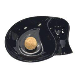 Dýmkový popelník skleněný malý, černý-Dýmkový popelník s odkladem na jednu dýmku, skleněný. Popelník na dýmku má rozměry 19x15x3,5cm.