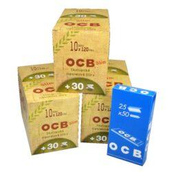 Cigaretové filtry OCB Slim Bio Promo + OCB Blue-Cigaretové filtry OCB Slim Bio Promo + zdarma papírky OCB Blue. Pack obsahuje : 3x balení cigaretových filtrů OCB Slim Bio Promo (30 x sáček 120ks+30ks filtrů zdarma), 1x balení papírků OCB Blue (25 knížeček).