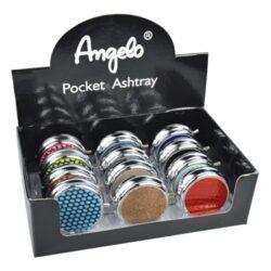 Cigaretový popelník kapesní Angelo, barevný-Cigaretový popelník kapesní Angelo, barevný. Kapesní popelník na cigarety je kovový, průměr 5cm.