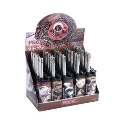 Domácnostní zapalovač Prof Cobia Coffee-Plynový domácnostní zapalovač. Zapalovač je plnitelný. Výška 12,5cm. Prodej pouze po celém balení (displej) 25 ks.
