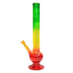 Bong sklo Rasta 45cm, barevný-Bong skleněný transparentní, trojbarevný. Bong má ve vnitřní spodní části výstupky pro udržení kostek ledu k ochlazení kouře. Výška: 45 cm Průměr: 5 cm Materiál: sklo