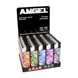 Zapalovač Angel Piezo Faces-Plynový zapalovač. Zapalovač je plnitelný. Prodej pouze po celém balení (displej) 50 ks.