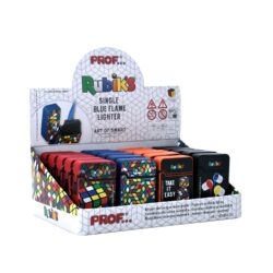 Tryskový zapalovač Prof Blue Flame Rubik's-Tryskový zapalovač s jednou tryskou. Zapalovač je plnitelný. Prodej pouze po celém balení (displej) 20 ks.