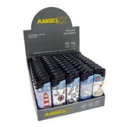 Zapalovač Angel Piezo Coast-Plynový zapalovač. Zapalovač je plnitelný. Prodej pouze po celém balení (displej) 50 ks.