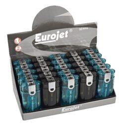 Zapalovač Eurojet Duoflame, 25ks-Plynový zapalovač s kombinací normálního a turbo plamene. Zapalovač je plnitelný. Výška zapalovače 6,5cm. Prodej pouze po celém balení (displej) 25 ks.