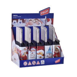 Domácnostní zapalovač Prof Cobia Santa & Kitty-Plynový domácnostní zapalovač s vánoční tématikou. Zapalovač je plnitelný. Prodej pouze po celém balení (displej) 25 ks. Výška zapalovače 13cm.
