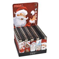 Zapalovač PROF Piezo Santa & Kitty-Plynový zapalovač PROF Piezo Santa & Kitty s vánoční tématikou. Zapalovač vybavený fixním plamenem není plnitelný. Prodej pouze po celém balení (displej) 50 ks. Výška zapalovače 8cm.