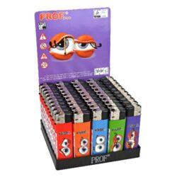 Zapalovač Prof Piezo Eyes-Plynový zapalovač. Zapalovač je plnitelný. Prodej pouze po celém balení (displej) 50 ks. Výška zapalovače 8cm.