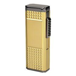 Doutníkový zapalovač Eurojet Samara, zlatý-Doutníkový zapalovač. Tryskový zapalovač na doutníky obsahuje integrovaný vyštípávač. Zapalovač je plnitelný. Doutníkový zapalovač je dodáván v dárkové krabičce. Výška 7,9cm.