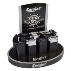 Dýmkový zapalovač Eurojet, 12ks-Dýmkový zapalovač. Zapalovač je plnitelný. Výška 7,5cm. Provedení: černé, černochromové.