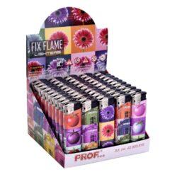 Zapalovač Prof Piezo Assaf Colors-Plynový zapalovač. Zapalovač je plnitelný. Prodej pouze po celém balení (displej) 50 ks. Výška zapalovače 8cm.