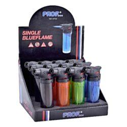 Tryskový zapalovač Prof Torch transparent-Tryskový zapalovač vhodný nejen k zapalování doutníků. Zapalovač je plnitelný, má pojistku proti zapálení. Výška zapalovače: 10,5cm.