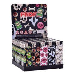 Zapalovač Prof Piezo Halloween-Plynový zapalovač. Zapalovač je plnitelný. Prodej pouze po celém balení (displej) 50 ks. Výška zapalovače 8cm.