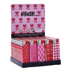 Zapalovač Prof Piezo Pink Hearts-Plynový zapalovač. Zapalovač je plnitelný. Prodej pouze po celém balení (displej) 50 ks. Výška zapalovače 8cm.