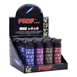 Tryskový zapalovač Prof Torch Color Leaves-Tryskový zapalovač vhodný nejen k zapalování doutníků. Výborný též k zapálení uhlíků do vodní dýmky, krbů nebo grilů. Zapalovač je plnitelný a má pojistku proti zapálení. Výška zapalovače: 10,5cm.