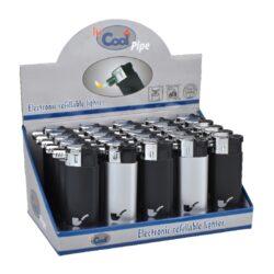 Dýmkový zapalovač Cool Pipe black&silver-Dýmkový zapalovač. Zapalovač je plnitelný. Výška 7,5cm. Provedení: černé, stříbrné. Prodej pouze po celém balení (displej) 25 ks.