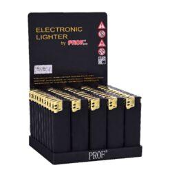 Zapalovač Prof Piezo Black&Gold Rubber-Plynový zapalovač. Zapalovač je plnitelný. Prodej pouze po celém balení (displej) 50 ks. Povrch zapalovače je pogumováný. Výška zapalovače 8cm.
