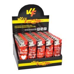 Zapalovač Wildfire Piezo Love-Plynový zapalovač. Zapalovač je plnitelný. Výška 8cm. Prodej pouze po celém balení (displej) 50 ks.