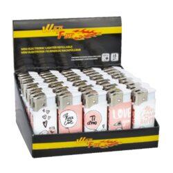 Zapalovač Wildfire Piezo Mini Pink&White-Plynový zapalovač. Zapalovač je plnitelný. Výška 5,5cm. Prodej pouze po celém balení (displej) 50 ks.