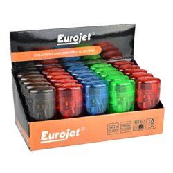 Zapalovač Eurojet Transparent-Tryskový zapalovač. Zapalovač je plnitelný. Výška 7cm. Prodej pouze po celém balení (displej) 25 ks.