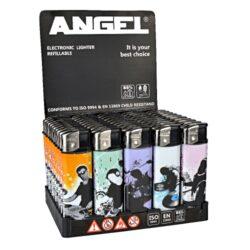 Zapalovač Angel Piezo Dance-Plynový zapalovač. Zapalovač je plnitelný. Prodej pouze po celém balení (displej) 50 ks.