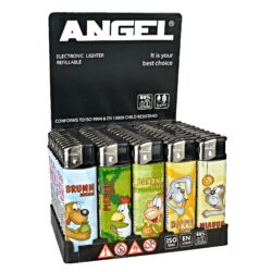Zapalovač Angel Piezo Cartoons-Plynový zapalovač. Zapalovač je plnitelný. Výška zapalovače 8cm. Prodej pouze po celém balení (displej) 50 ks.
