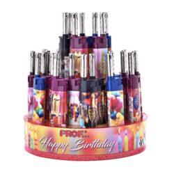 Domácnostní zapalovač Cobia Birthday-Plynový domácnostní zapalovač. Zapalovač je plnitelný. Výška 12,5cm. Prodej pouze po celém balení (displej) 50 ks.