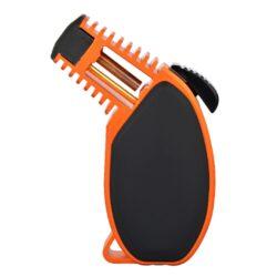 Doutníkový zapalovač Eurojet Torch, black-orange-Doutníkový zapalovač vhodný nejen k zapalování doutníků. Výborný též k zapálení uhlíků do vodní dýmky, krbů nebo grilů. Tryskový zapalovač je vyrobený z kvalitního hliníku na CNC strojích. Povrch je upraven eloxováním. Intezita plamene je nastavitelná. Zapalovač je plnitelný a je dodáván v dárkové krabičce. Výška: 10cm.