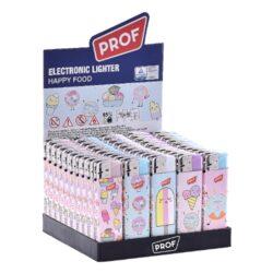 Zapalovač Prof Piezo Happyfood-Plynový zapalovač. Zapalovač je plnitelný. Prodej pouze po celém balení (displej) 50 ks. Výška zapalovače 8cm.