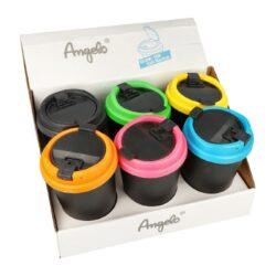 Popelník do auta Angelo-Cigaretový popelník do auta. Uzavírací plastový auto popelník na cigarety je vysoký 12,5cm. Dno popelníku má 6cm v průměru, horní průměr je 8,3cm. Cena uvedena za 1 ks.