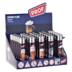 Zapalovač Prof Flint Round Beer-Plynový kamínkový zapalovač. Zapalovač není plnitelný. Prodej pouze po celém balení (displej) 25 ks. Výška zapalovače 7cm.