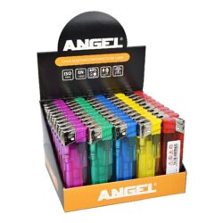 Zapalovač Angel Piezo Transparent-Plynový zapalovač. Zapalovač je plnitelný. Prodej pouze po celém balení (displej) 50 ks. Výška zapalovače 8cm.