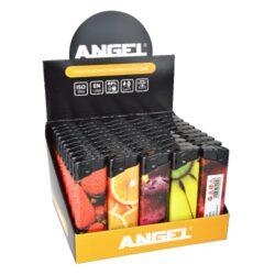 Zapalovač Angel Piezo Fruits-Plynový zapalovač. Zapalovač je plnitelný. Prodej pouze po celém balení (displej) 50 ks. Výška zapalovače 8cm.