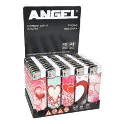 Zapalovač Angel Piezo Hearts-Plynový zapalovač. Zapalovač je plnitelný. Prodej pouze po celém balení (displej) 50 ks. Výška zapalovače 8cm.