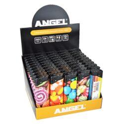 Zapalovač Angel Piezo Sweets-Plynový zapalovač. Zapalovač je plnitelný. Prodej pouze po celém balení (displej) 50 ks. Výška zapalovače 8cm.