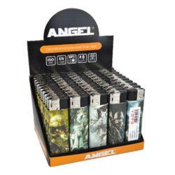 Zapalovač Angel Piezo Army-Plynový zapalovač. Zapalovač je plnitelný. Prodej pouze po celém balení (displej) 50 ks. Výška zapalovače 8cm.
