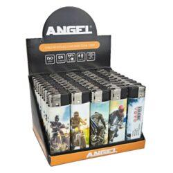 Zapalovač Angel Piezo Moto-Plynový zapalovač. Zapalovač je plnitelný. Prodej pouze po celém balení (displej) 50 ks. Výška zapalovače 8cm.