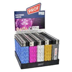 Zapalovač Prof Piezo Shiny Dots-Plynový zapalovač s třpytivým efektem. Zapalovač je plnitelný. Prodej pouze po celém balení (displej) 50 ks. Výška zapalovače 8 cm.