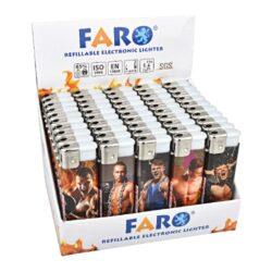 Zapalovač Faro Piezo Muscles-Plynový zapalovač. Zapalovač je plnitelný. Prodej pouze po celém balení (displej) 50 ks. Výška zapalovače 8cm.