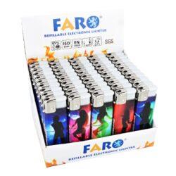 Zapalovač Faro Piezo Striptease-Plynový zapalovač. Zapalovač je plnitelný. Prodej pouze po celém balení (displej) 50 ks. Výška zapalovače 8cm.