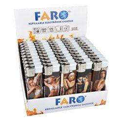 Zapalovač Faro Piezo Lingerie-Plynový zapalovač. Zapalovač je plnitelný. Prodej pouze po celém balení (displej) 50 ks. Výška zapalovače 8cm.
