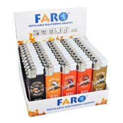 Zapalovač Faro Piezo Motogang-Plynový zapalovač. Zapalovač je plnitelný. Prodej pouze po celém balení (displej) 50 ks. Výška zapalovače 8cm.